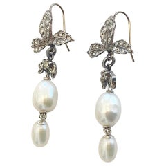 Art Deco Earrings in 9ct gold, 925 silver and Baroque pearls