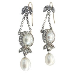 Art Deco Earrings in 9ct gold, silver and Cultured pearls