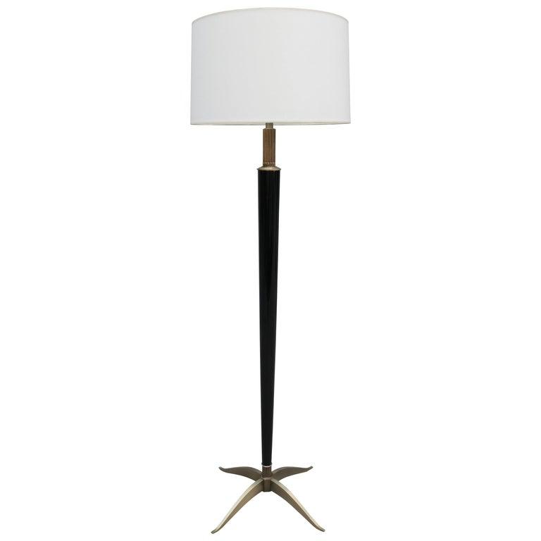 Art Deco Ebonized Floor Lamp by H. Boinot For Sale
