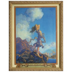 Art Deco Edison Mazda Print 'Ecstasy' after Original by Maxfield Parrish, c1920