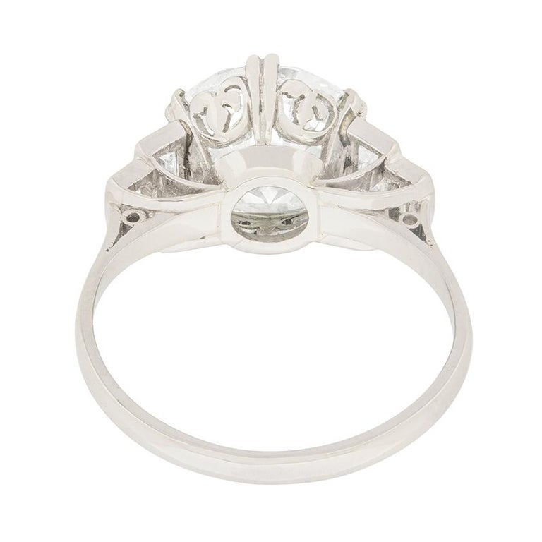 Art Deco EDR Certified 3.67 Carat Transitional Cut Diamond Engagement Ring In Good Condition For Sale In London, GB