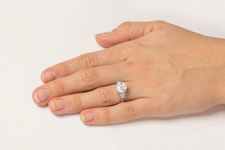 Art Deco EDR Certified 3.67 Carat Transitional Cut Diamond Engagement Ring For Sale 2
