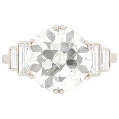 Art Deco EDR Certified 3.67 Carat Transitional Cut Diamond Engagement Ring