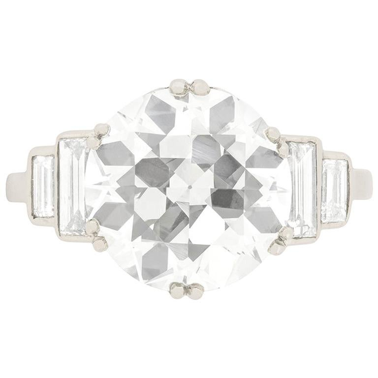 Art Deco EDR Certified 3.67 Carat Transitional Cut Diamond Engagement Ring For Sale