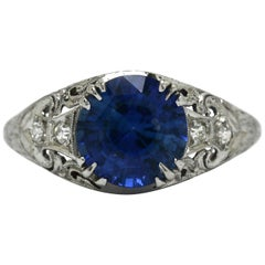 Art Deco Edwardian Blue Sapphire Diamond Filigree Gem Solitaire Engagement Ring