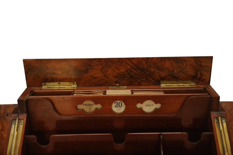 Art Deco, Edwardian Burr Walnut Desk Organizer, Includes Calendar and Storage.  A Wonderful Example of Craftsmanship, That Will Do Justice To Any Desk or Study.