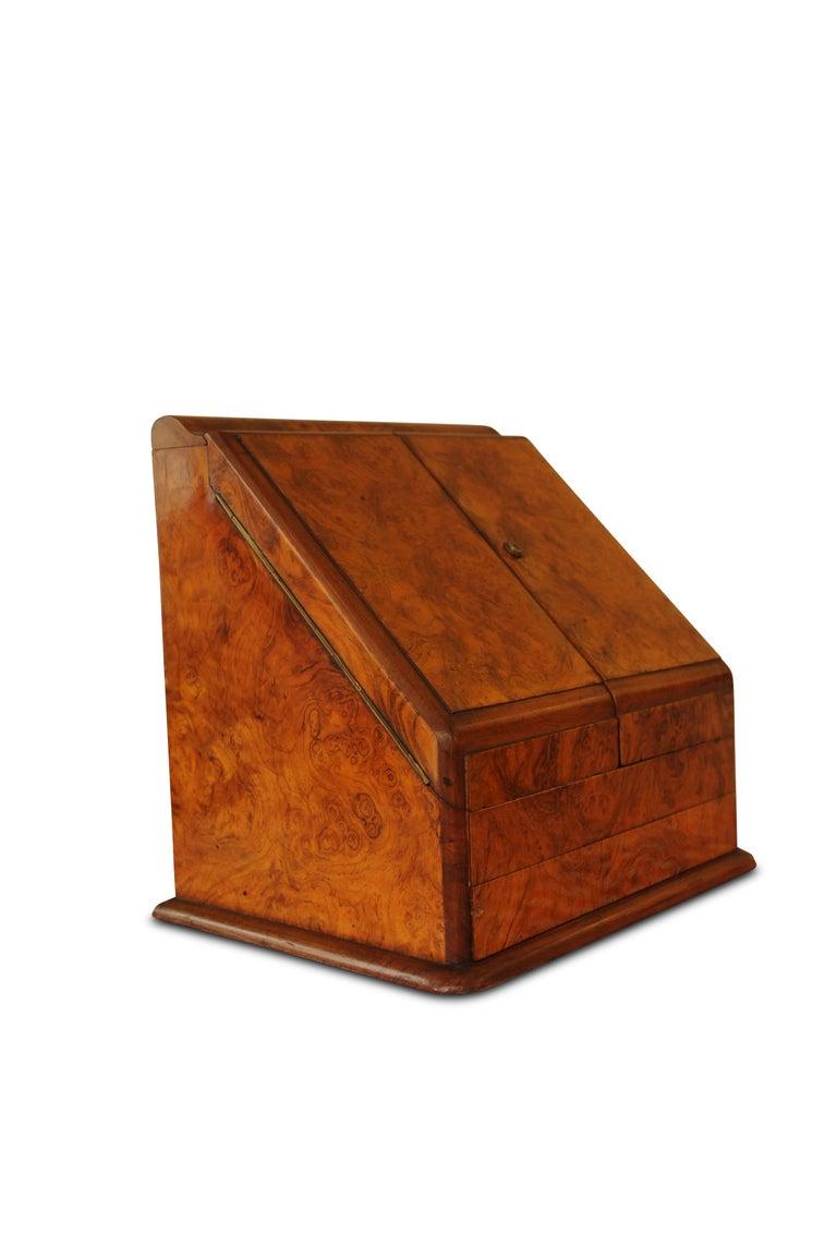 English Art Deco, Edwardian Burr Walnut Desk Organizer, Includes Calendar and Storage For Sale