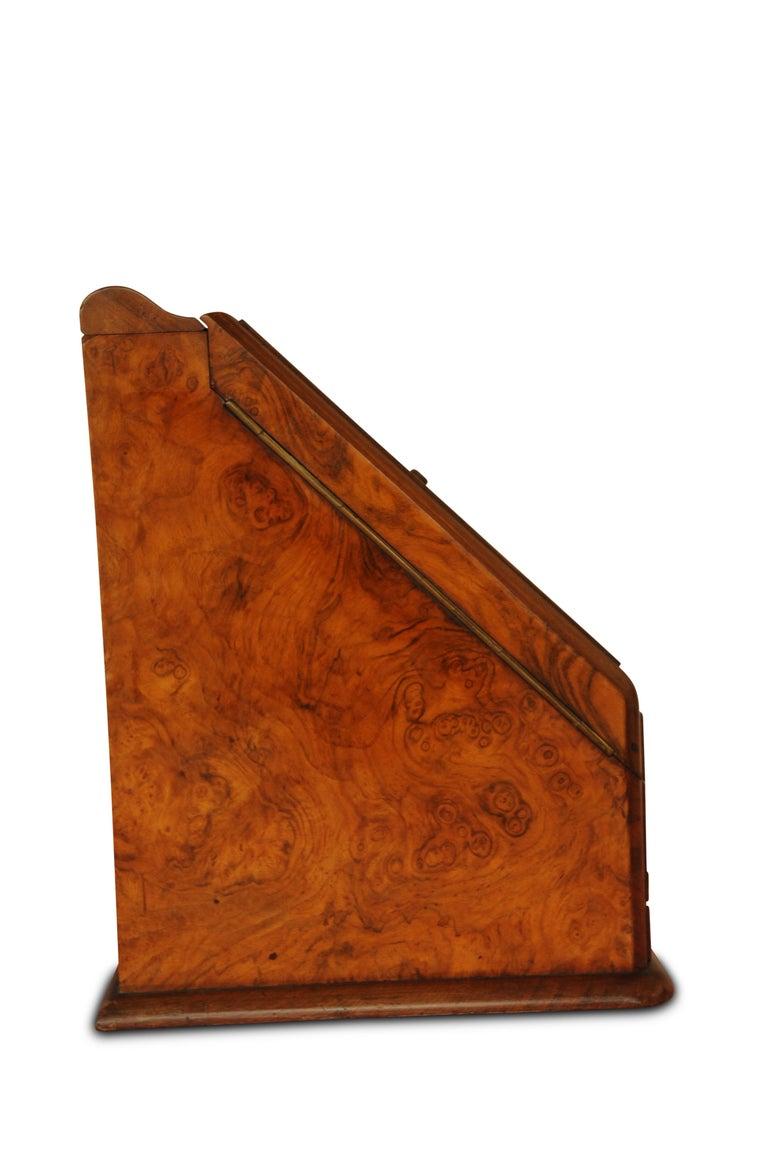 Hand-Crafted Art Deco, Edwardian Burr Walnut Desk Organizer, Includes Calendar and Storage For Sale
