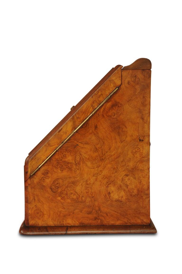 Early 20th Century Art Deco, Edwardian Burr Walnut Desk Organizer, Includes Calendar and Storage For Sale