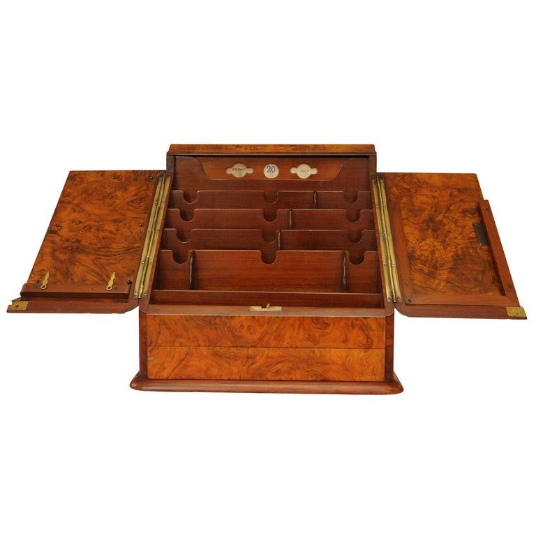 Art Deco, Edwardian Burr Walnut Desk Organizer, Includes Calendar and Storage For Sale