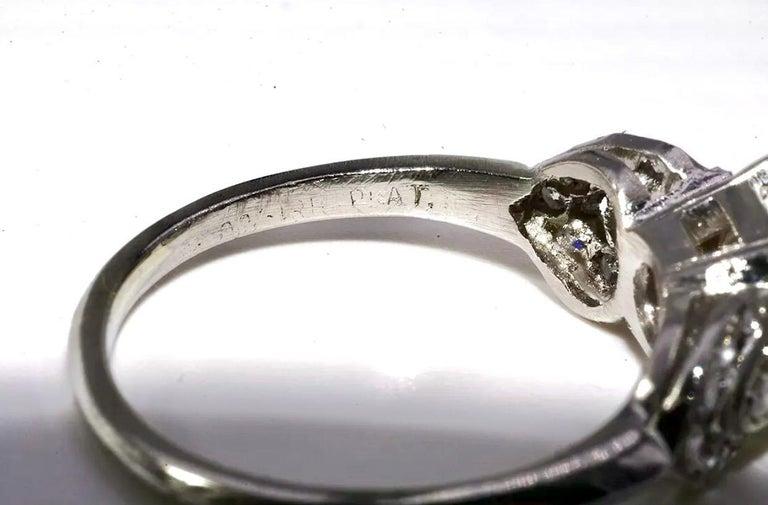 Men's Art Deco EGL Certified Center 1.31 Carat Diamond J/VS2 Platinum Engagement Ring For Sale