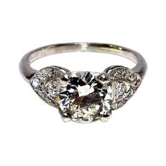 Art Deco EGL Certified Center 1.31 Carat Diamond J/VS2 Platinum Engagement Ring