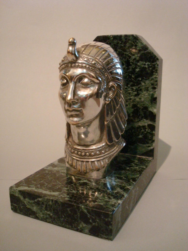 Art Deco Egyptian head silvered bronze signed Frecourt bookends, France, 1920s