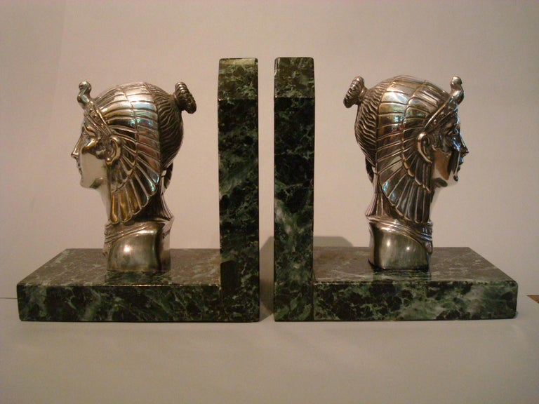 French Art Deco Egyptian Head Silvered Bronze Signed Frecourt Bookends For Sale