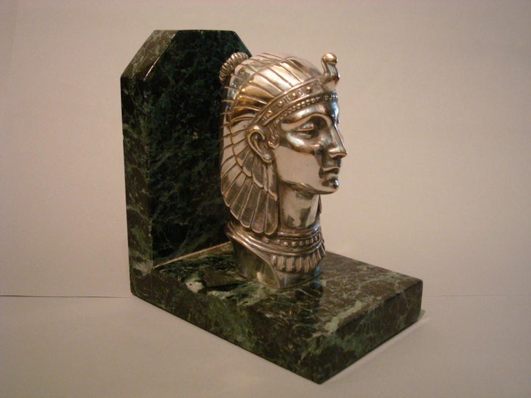 20th Century Art Deco Egyptian Head Silvered Bronze Signed Frecourt Bookends For Sale