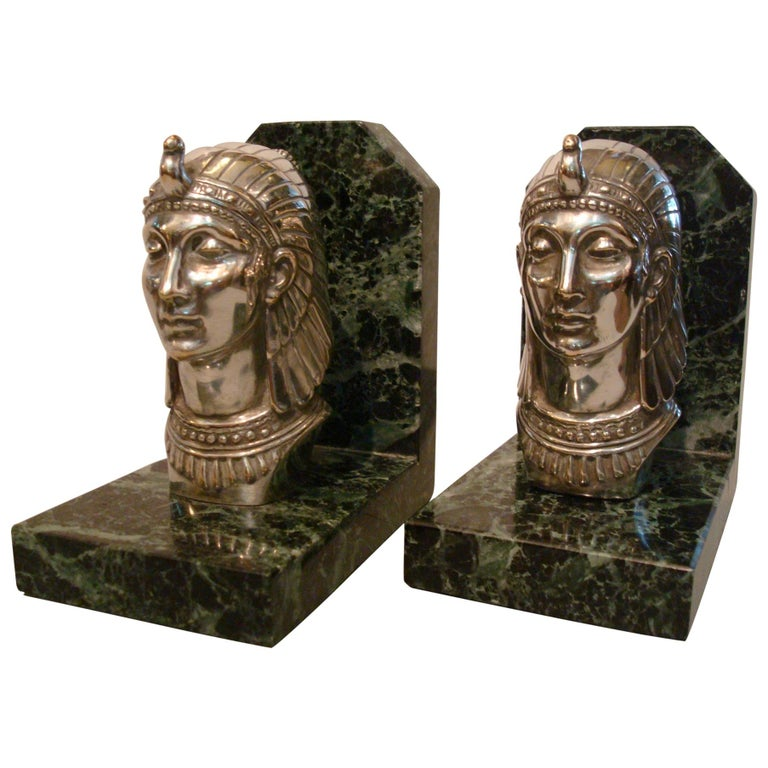 Art Deco Egyptian Head Silvered Bronze Signed Frecourt Bookends For Sale