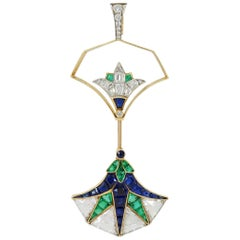 Art Deco Egyptian Jabot Convertible Brooch