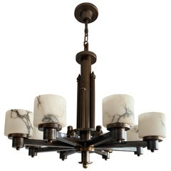 Art Deco Egyptian Revival Chandelier with Stunning White Alabaster Shades  1920s