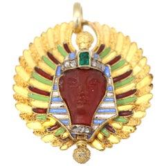 Art Deco Egyptian Revival Cornelian Emerald Gold Pendant