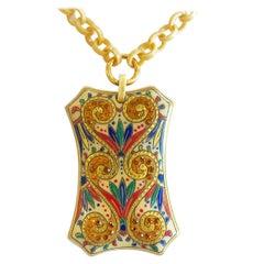 Art Deco Egyptian Revival Jewelled Pendant Necklace
