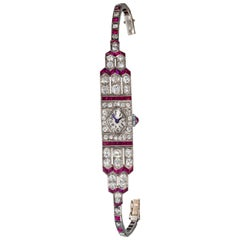 Art Deco Egyptian Revival Platinum Ruby Diamond IWC 14 Carat Diamond Watch