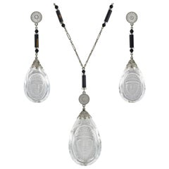 Art Deco Egyptian Revival Rock Crystal, Onyx, Diamond Necklace and Earring Set