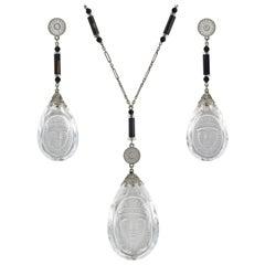 Art Deco Egyptian Revival Rock Crystal, Onyx, Diamond Necklace and Earring Set