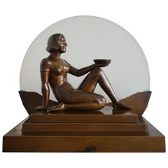 Art Deco Egyptian Style Bronzed Lady Sculpture & Moonlight Silhouette Table Lamp