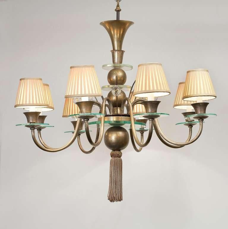 French Art Deco Eight-Arm Chandelier, France, circa 1928 For Sale