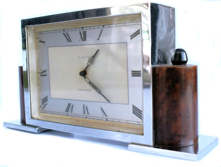 For your consideration is this stylish 1930s Art Deco clock. Quite slender in depth and overall nice size for either mantel or desk. The eight day movement has been fully serviced and so comes to you in good working order and keeping good time,