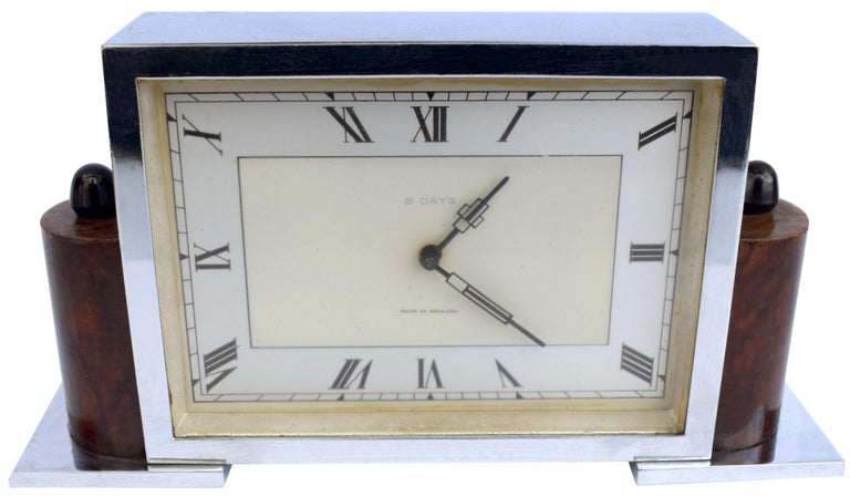 Art Deco Eight Day English Chrome Clock In Good Condition For Sale In Devon, England