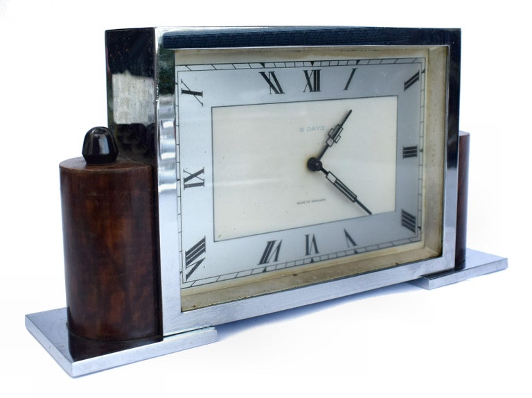 Steel Art Deco Eight Day English Chrome Clock For Sale