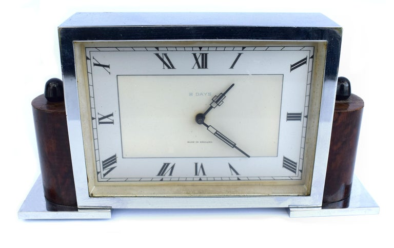 Art Deco Eight Day English Chrome Clock For Sale 1