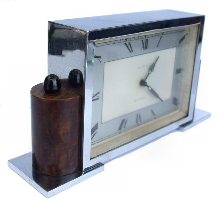 Art Deco Eight Day English Chrome Clock For Sale 2