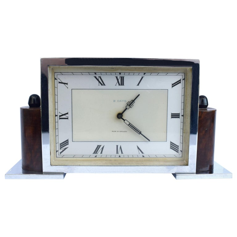 Art Deco Eight Day English Chrome Clock For Sale