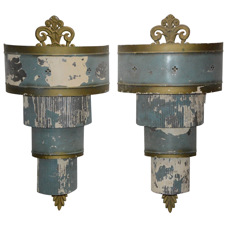 Art Deco Electrified Metal Sconces, Pair