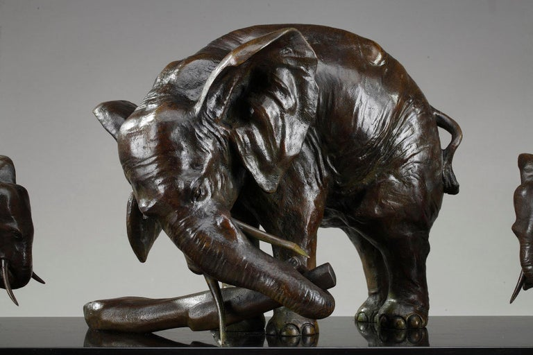 French Art Deco Elephant with Its Two Baby Elephants by Ulisse Caputo For Sale