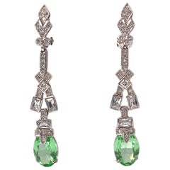 Art Deco Elongate Peridot Crystal Drop Clip on Earrings