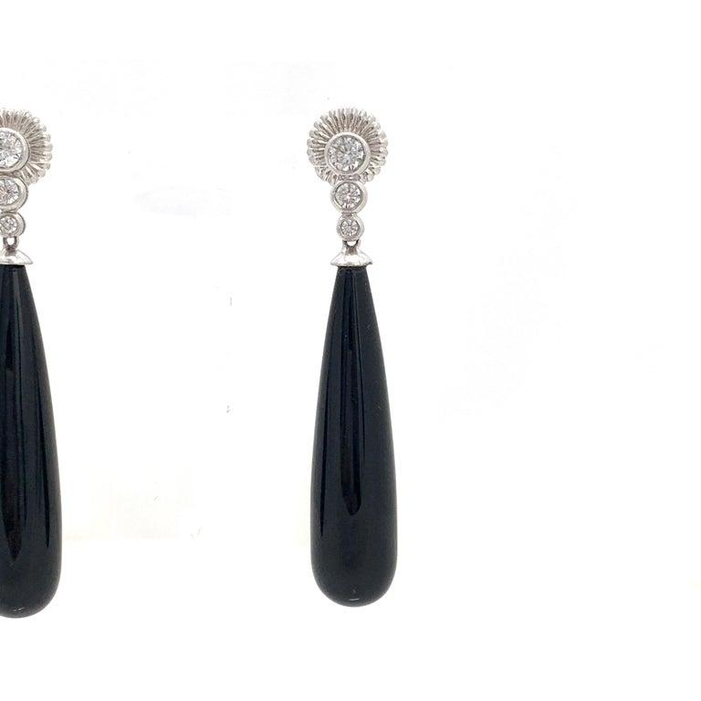 Women's Art Deco Style Elongate Teardrop Onyx Sterling Silver Earrings