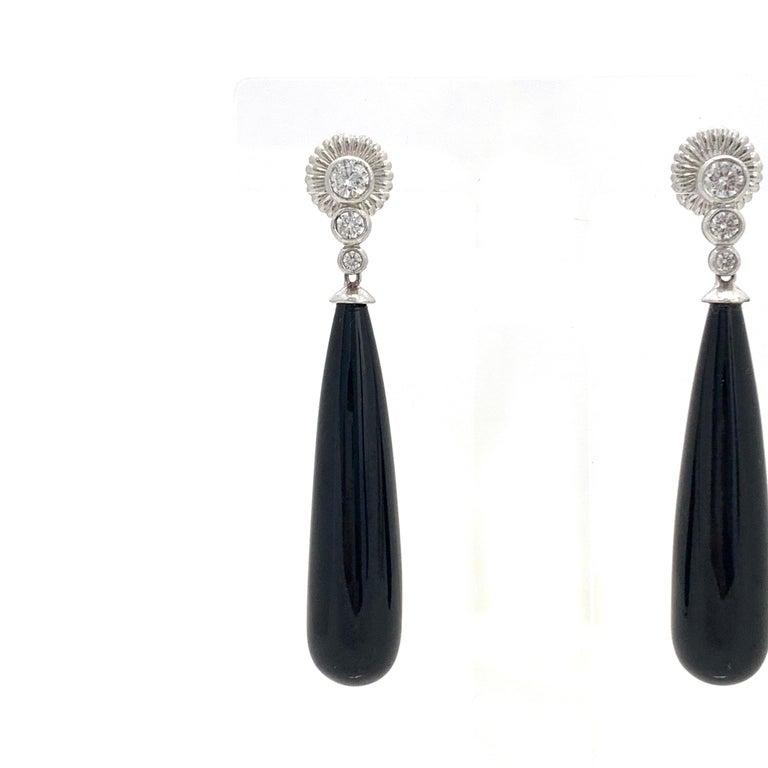 Art Deco Style Elongate Teardrop Onyx Sterling Silver Earrings 1