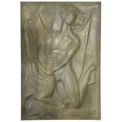 Art Deco Embossed Pewter Panel Sculpture, 1920s
