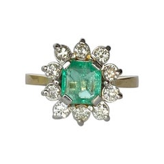 Art Deco Emerald and Diamond 18 Carat Gold Cluster