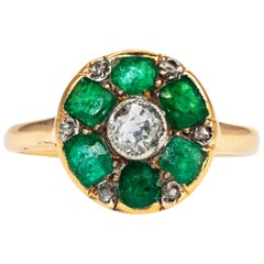 Art Deco Emerald and Diamond 18 Carat Gold Cluster Ring