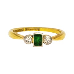 Art Deco Emerald and Diamond 18 Carat Gold Three-Stone
