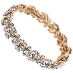 Art Deco 18 Karat Yellow Gold Silver Emerald and Diamond Bracelet