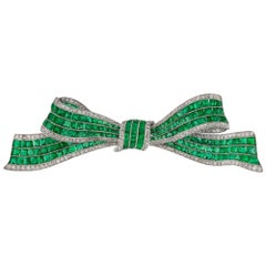 Art Deco Emerald and Diamond Bow Brooch
