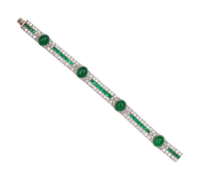 Radiant Cut Art Deco Emerald and Diamond Bracelet For Sale