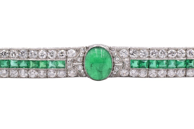 Art Deco Emerald and Diamond Bracelet In Excellent Condition For Sale In New York, NY