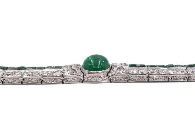 Art Deco Emerald and Diamond Bracelet For Sale 1
