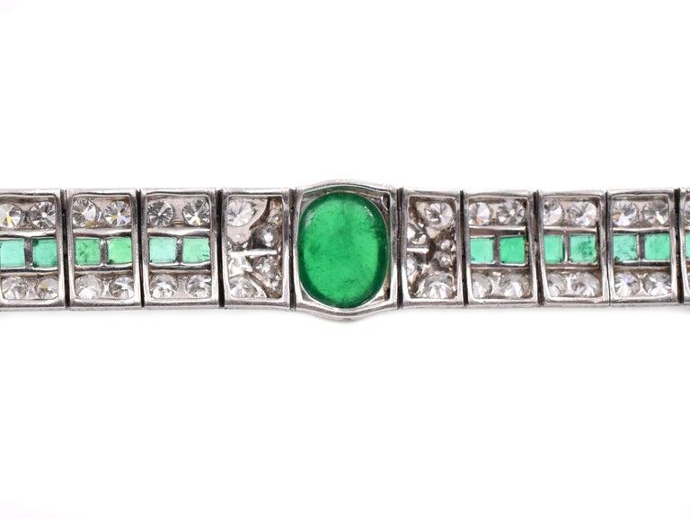 Art Deco Emerald and Diamond Bracelet For Sale 2